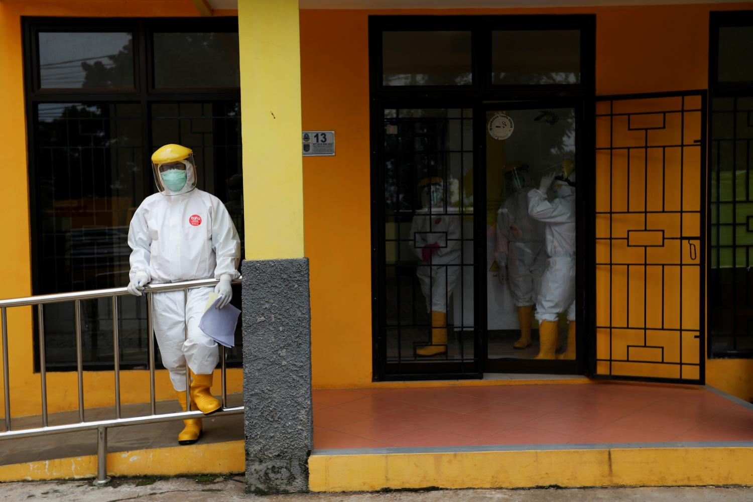 Health workers take a break at a coronavirus testing centre in Jakarta last Thursday. Photo: REUTERS