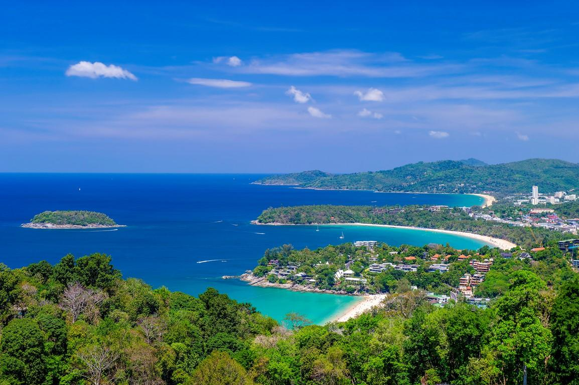 A viewpoint of three beaches in Phuket: Kata Noi, Kata and Karon. The island stands to be affected by a European tour operator asking for prolonged debt repayment delays.