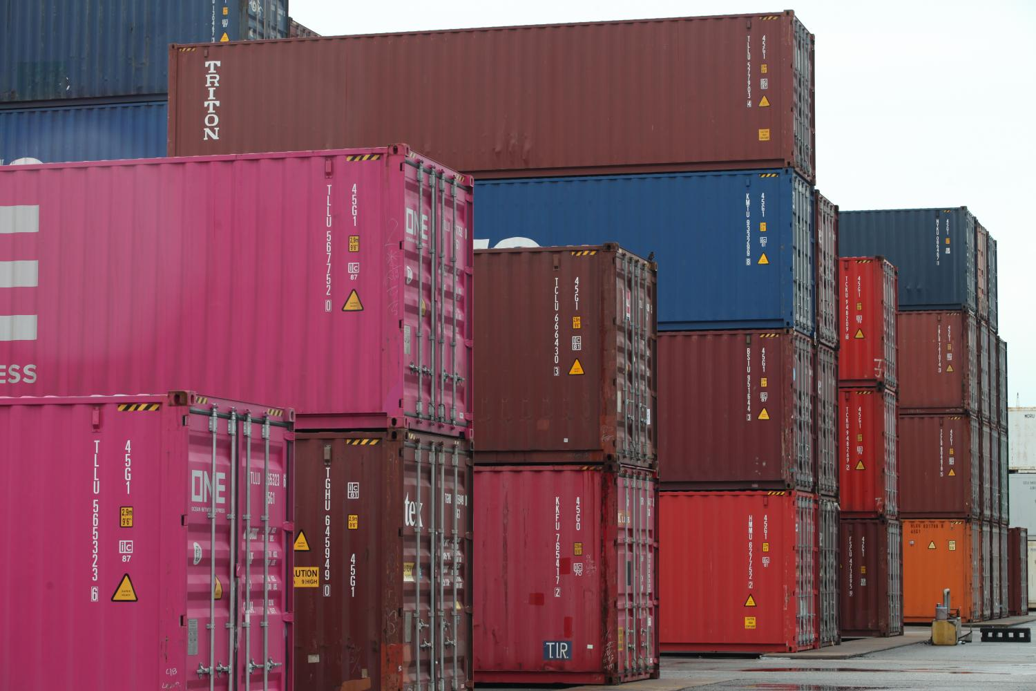 Shipping containers sit ready for export at Laem Chabang port in Chon Buri. Apichart Jinakul