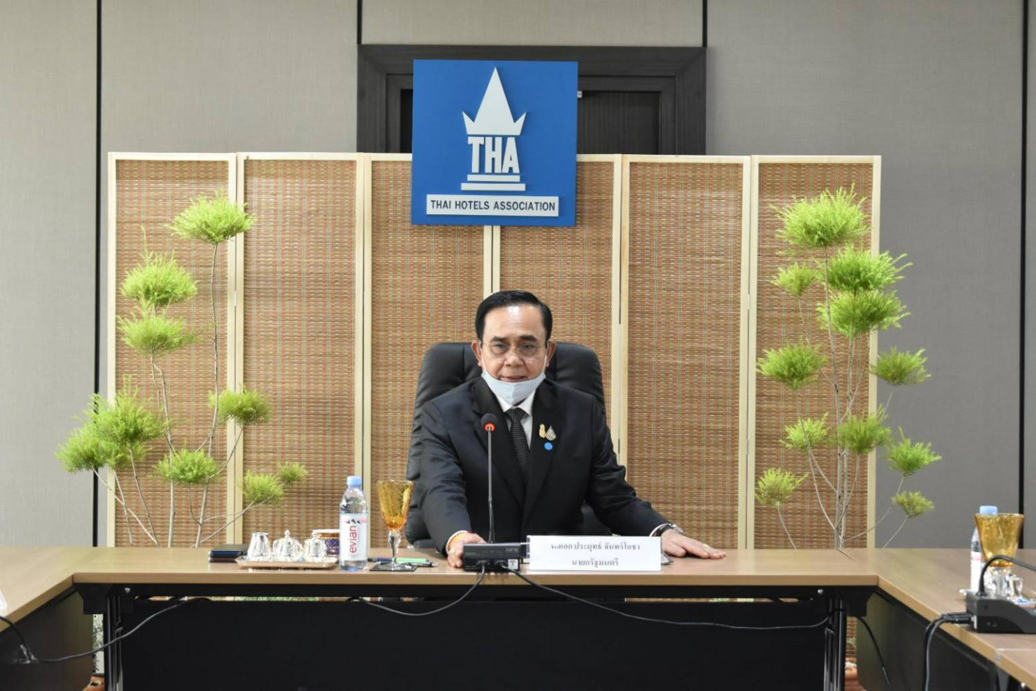 Prime Minister Prayut Chan-o-cha at a meeting with the Thai Hotels Association for hearing suggestion from private sector.