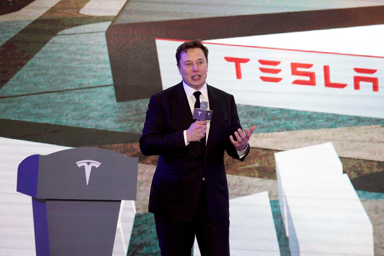 Elon Musk at a ceremony in January for Tesla's new China factory in Shanghai.REUTERS