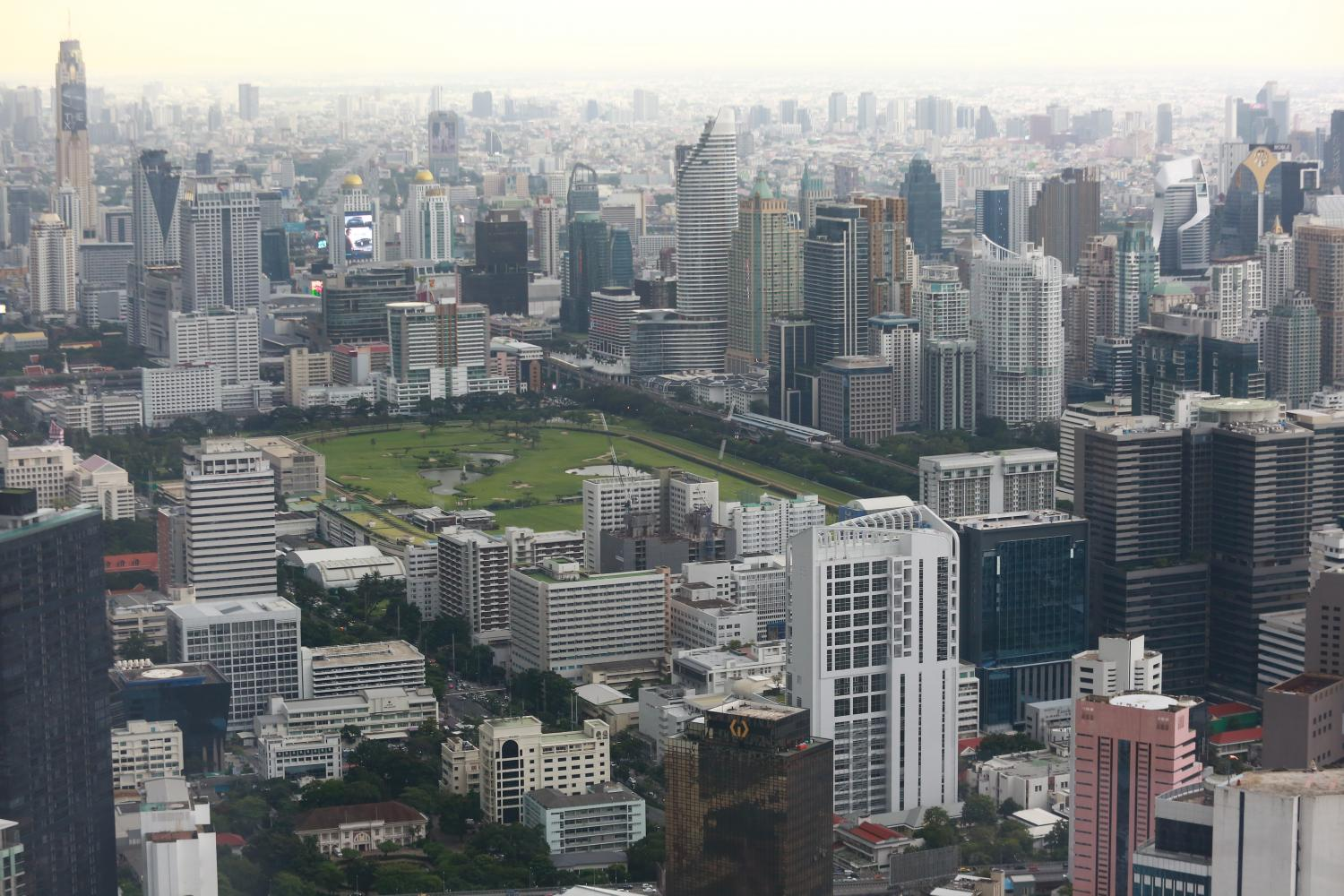 An aerial view of Bangkok's central business district with high-rise residential and office buildings.Somchai Poomlard