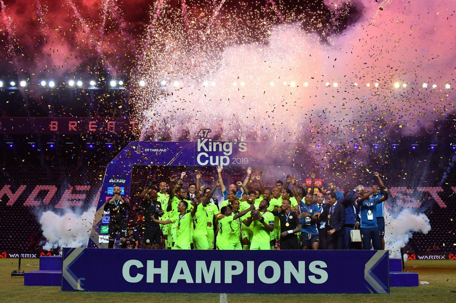 Curacao celebrate winning the King's Cup last year at Chang Arena in Buri Ram.