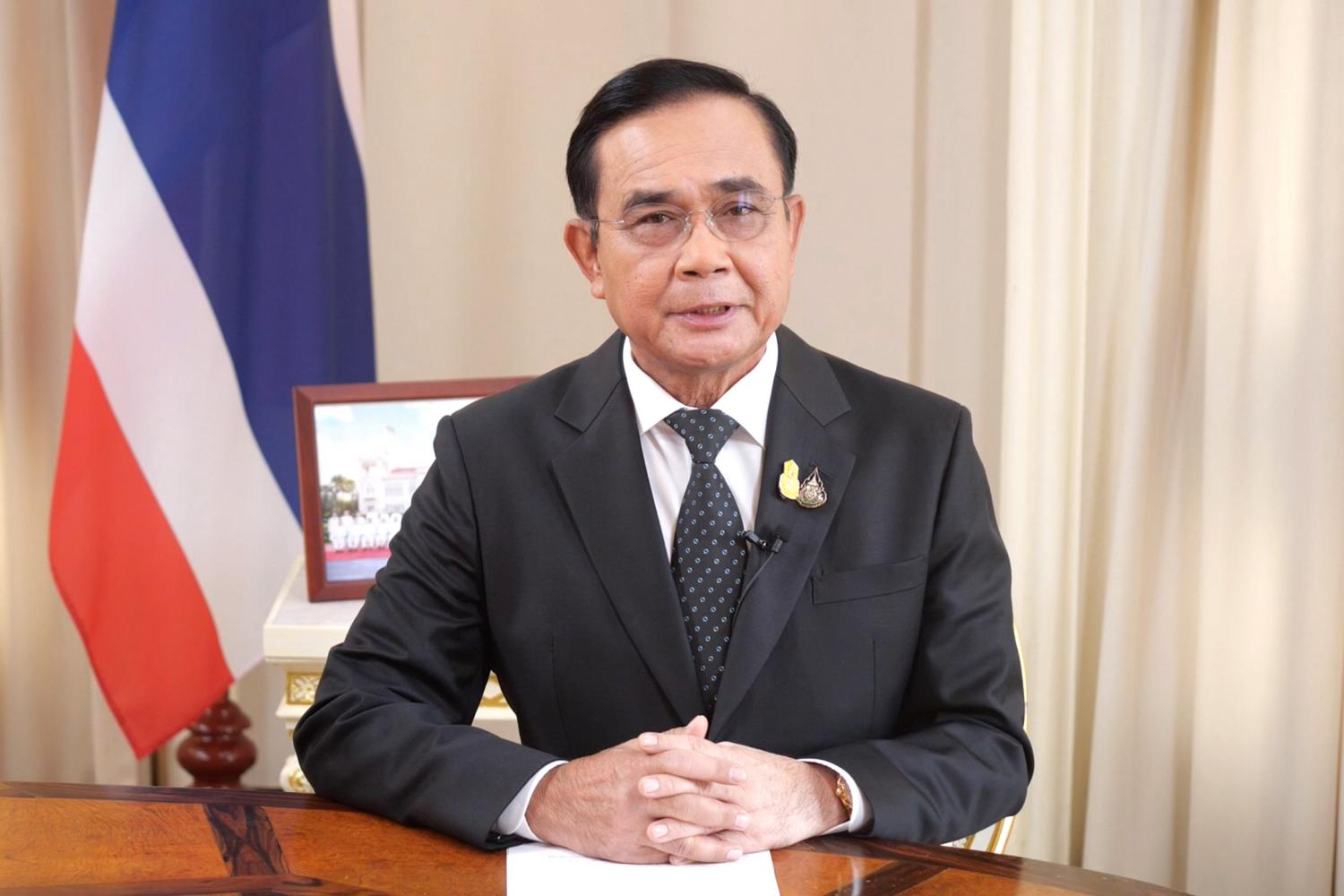 Prime Minister Prayut Chan-o-cha on Wednesday addresses in nationwide broadcast, announcing New Normal ways of working for himself and the government in the post Covid-19 era. (TV Pool photo)