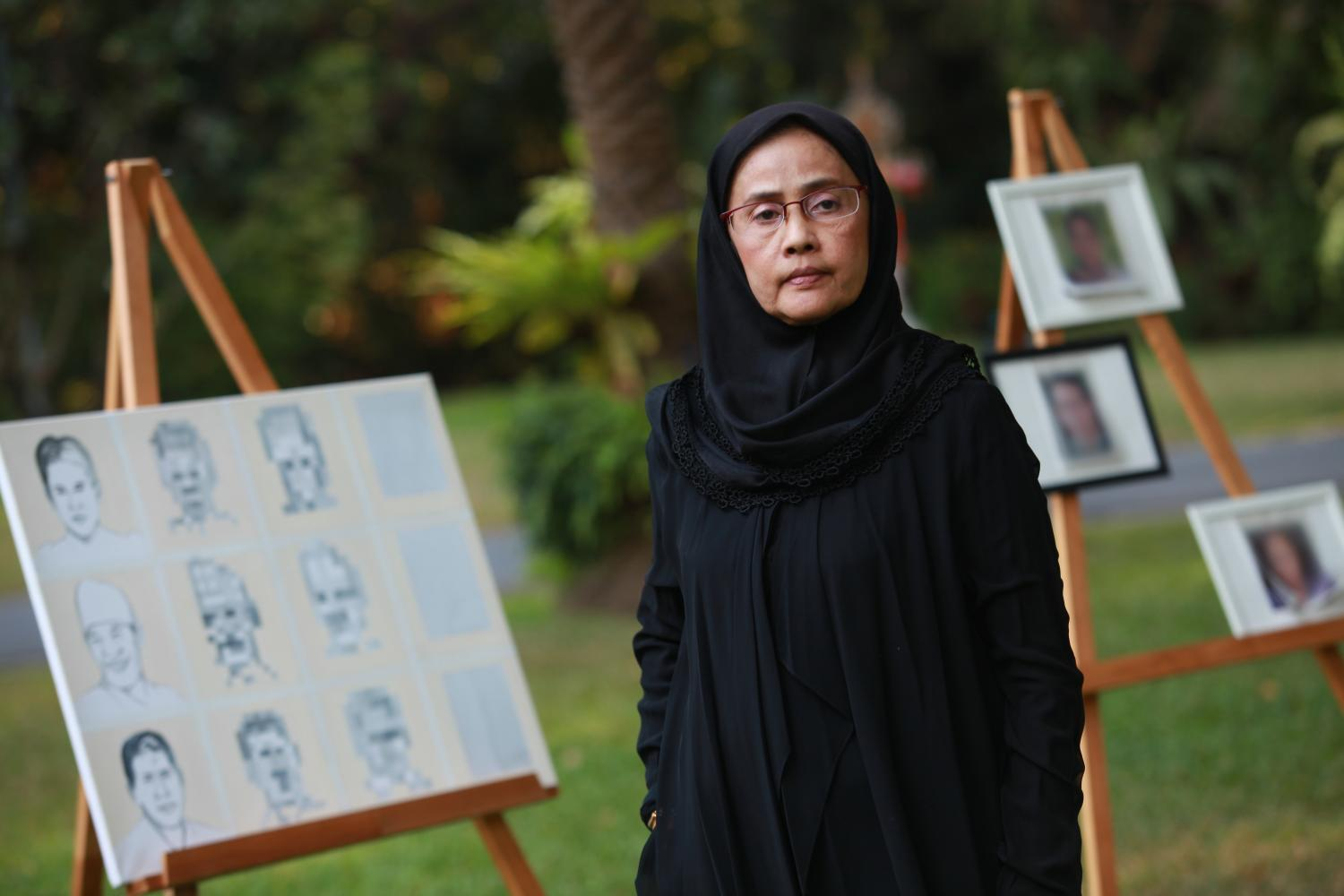Former national human rights commissioner Angkhana Neelapaijit posed for a picture at an art exhibition under the theme 'Voice From the Disappeared' as the Dutch embassy last year marked the 15th anniversary of the March 2004 disappearance of her husband, Muslim lawyer Somchai Neelapaijit. (Bangkok Post file photo)
