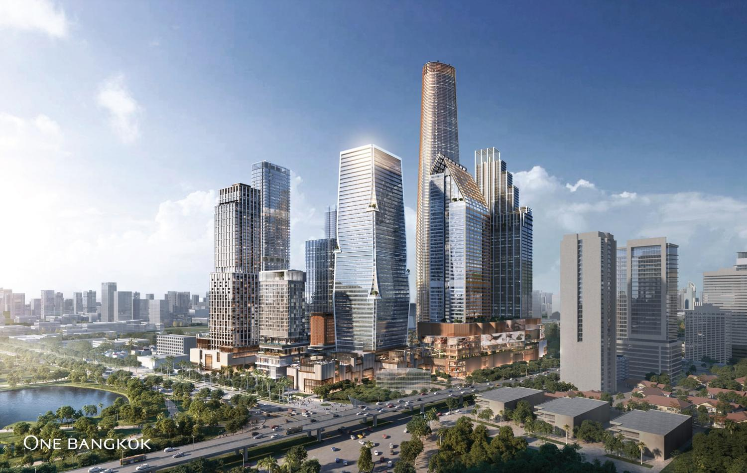 An artist's rendition of One Bangkok, situated at the corner of Wireless and Rama IV roads. The project offers premium Grade A office buildings in the centre of Bangkok's Lumpini district.