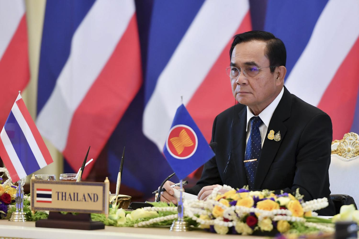 Prime Minister Prayut Chan-o-cha joins the Vietnam-hosted 36th Asean Summit and related meetings via video conference at Government House on Friday. (Government House photo)