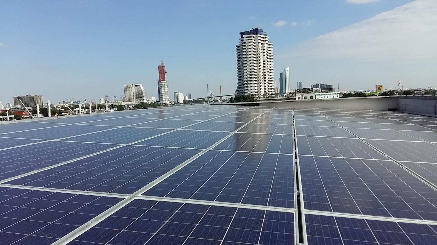 Solar rooftop panels at Banpu Plc in Bangkok. The government wants to encourage more household rooftop panels.