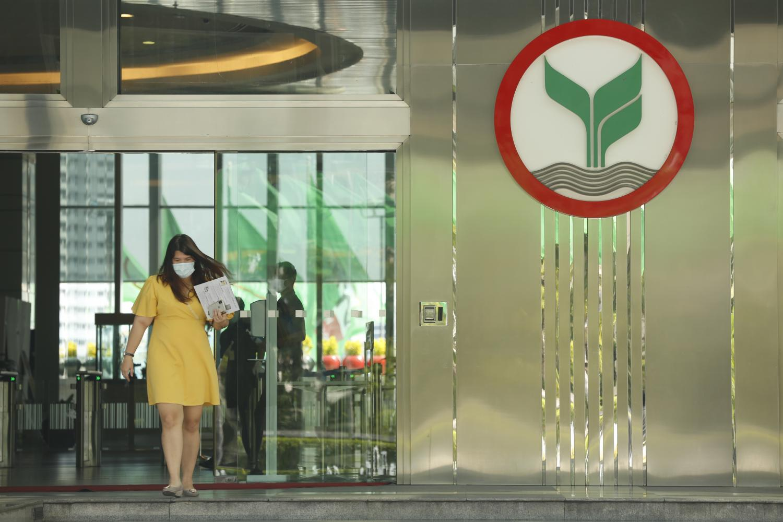 KBank's logo at the entrance to its head office in Rat Burana district, Bangkok.Pornprom Satrabhaya