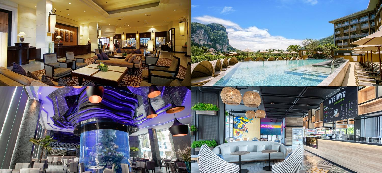 Clockwise from upper leftCentara Hotel Hat Yai, Centra by Centara Phu Pano Resort Krabi, Cosi Pattaya Wong Amat Beach and Centara Azure Hotel Pattaya.