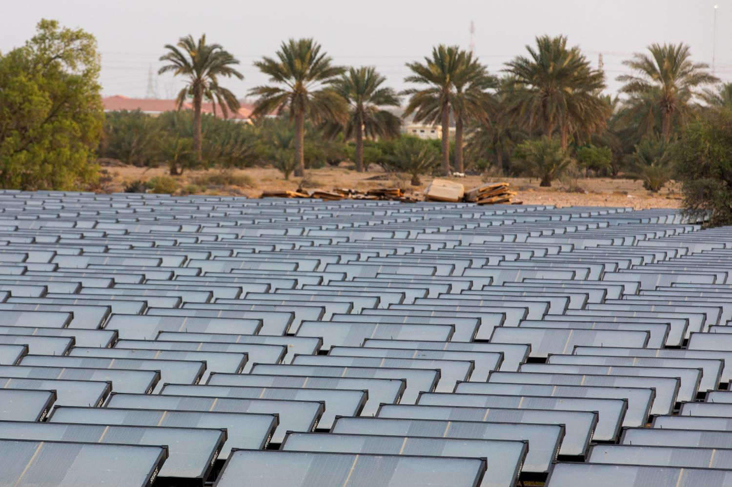 Hydropanels, produced by Zero Mass, stand at the planned site of the IBV drinking water plant in Lehbab, Dubai.(Photos: Bloomberg)