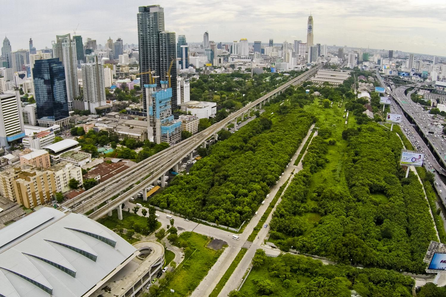 An aerial view of the State Railway of Thailand's Makkasan plot that the Treasury Department leases. (Post Today photo)