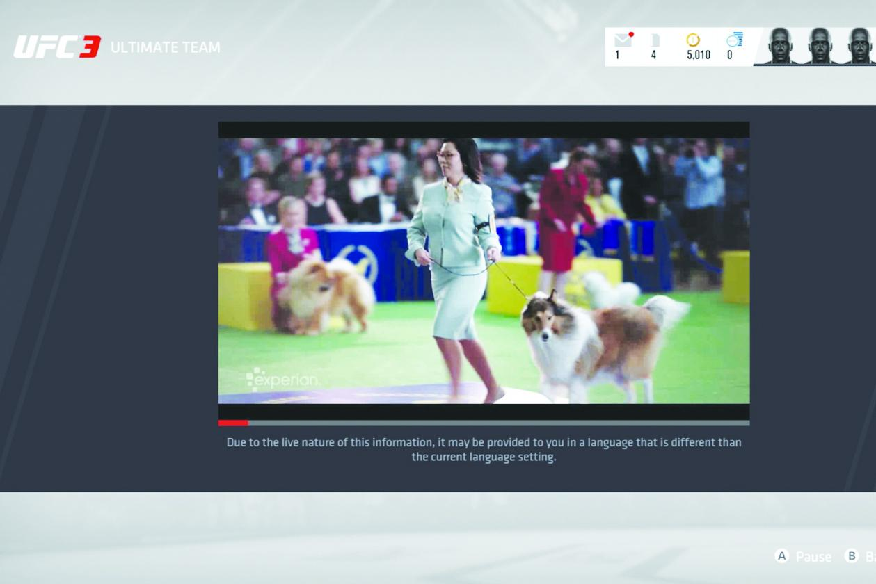 A TV ad from Experian runs within Electronic Arts' 'UFC 3' game.(BAXTER BREW)