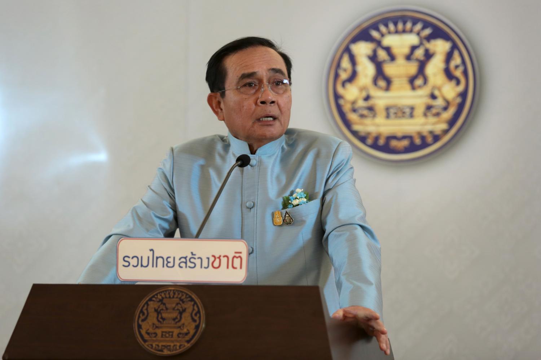 PM Prayut Chan-o-cha talks to the media on Tuesday.(Photo by Chanat Katanyu)