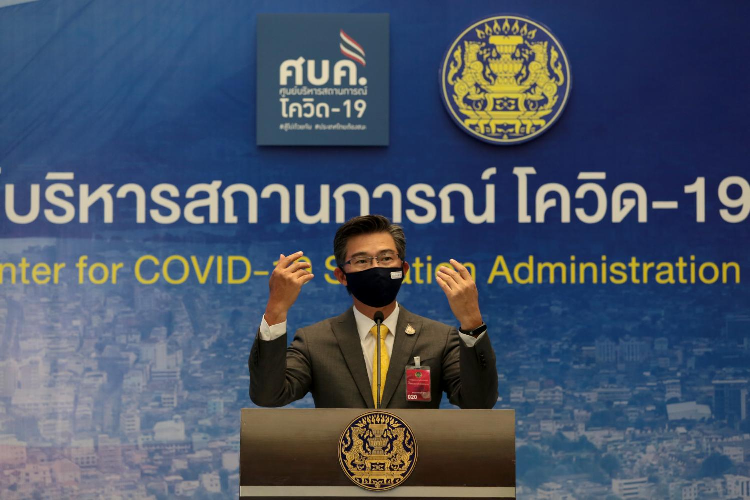 Taweesilp Visanuyothin, spokesperson of the Centre for Covid-19 Situation Administration, gestures during a daily press conference. (Photo by Chanat Katanyu)