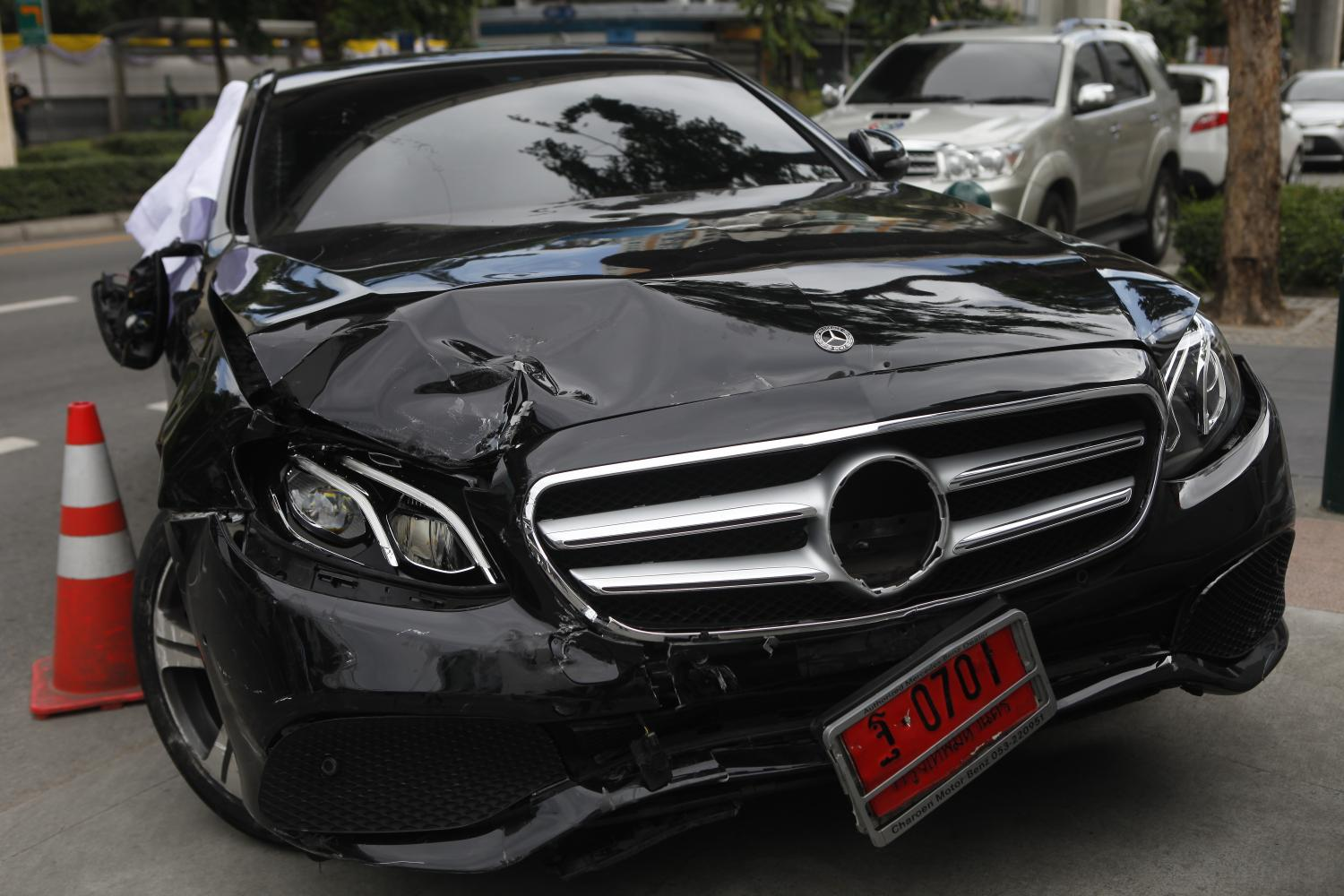 The Mercedes-Benz is seen with damage after the incident
