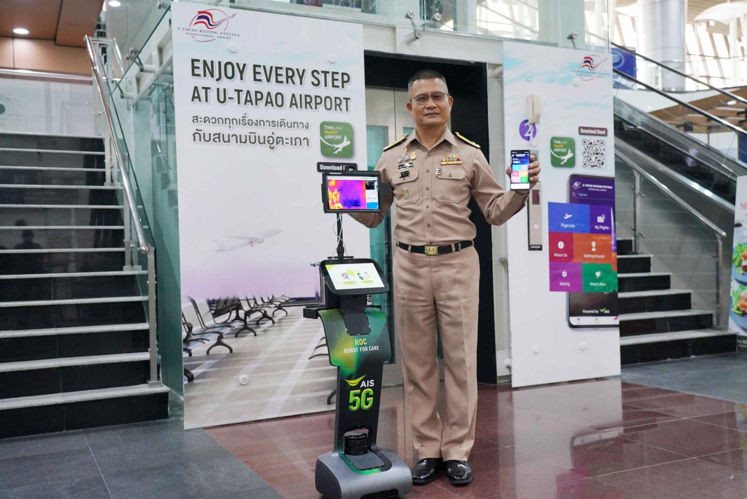 Vice Adm Kitchpol promotes the Thailand Smart Airport application and new robots that scan passengers' temperatures at U-tapao airport.