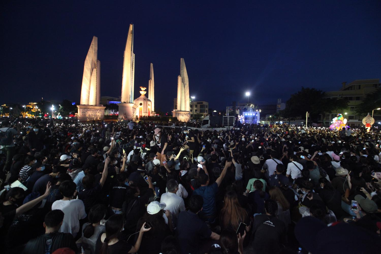Anti-government demonstrators led by the Free People group gather at the Democracy Monument on Ratchadamnoen Avenue. The group has demanded the government dissolve parliament, draw up a new constitution and end threats to its critics.