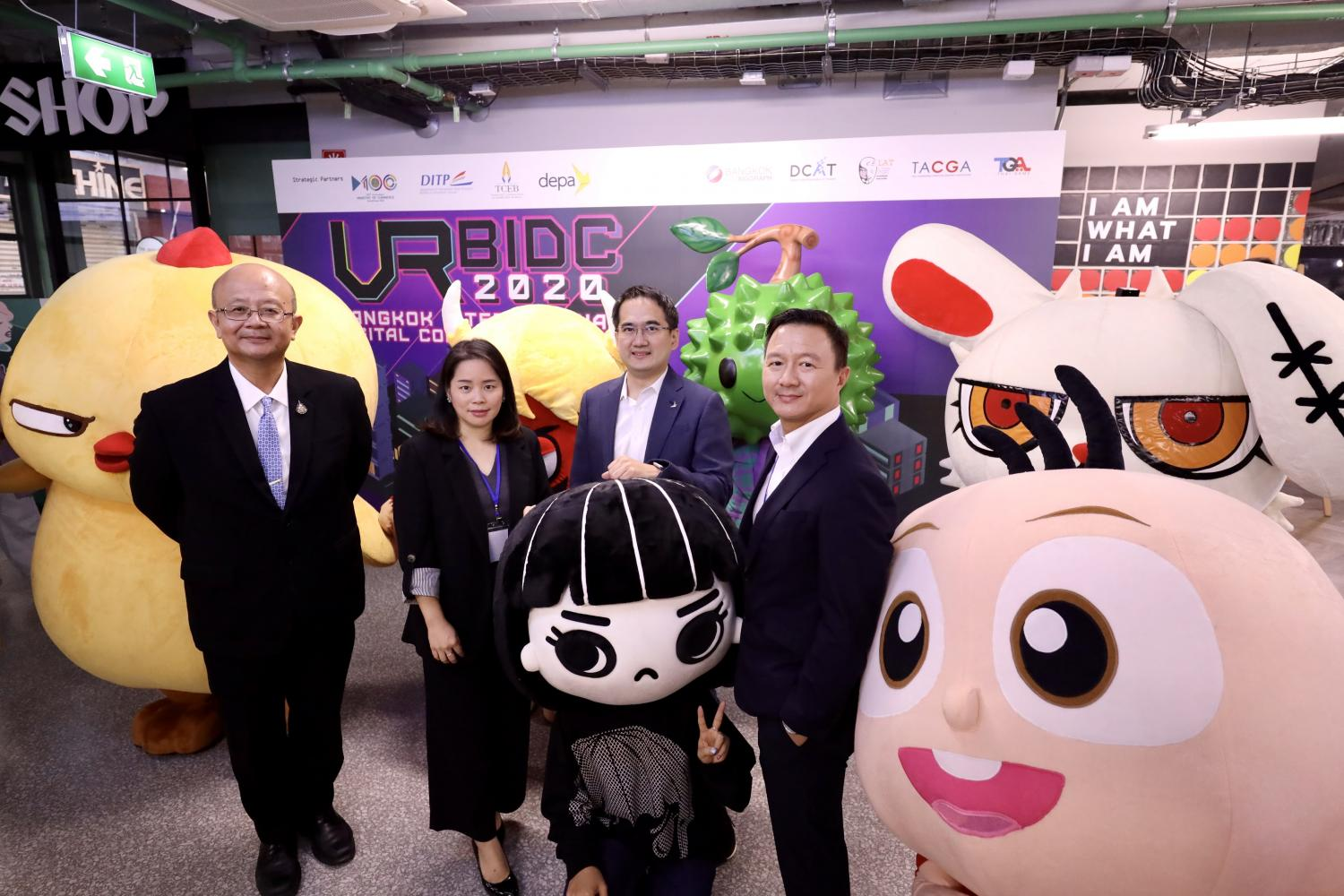From left  Somdet Susomboon, director-general of the International Trade Promotion Department; Harisuda Boonyawat, director of the Mega Events and World Festival Department; Chatchai Khunpitilak, deputy director of the Digital Economy Promotion Agency; and Krit Na Lamliang, president of the Digital Content Association of Thailand, at the launch of the Bangkok International Digital Content Festival.
