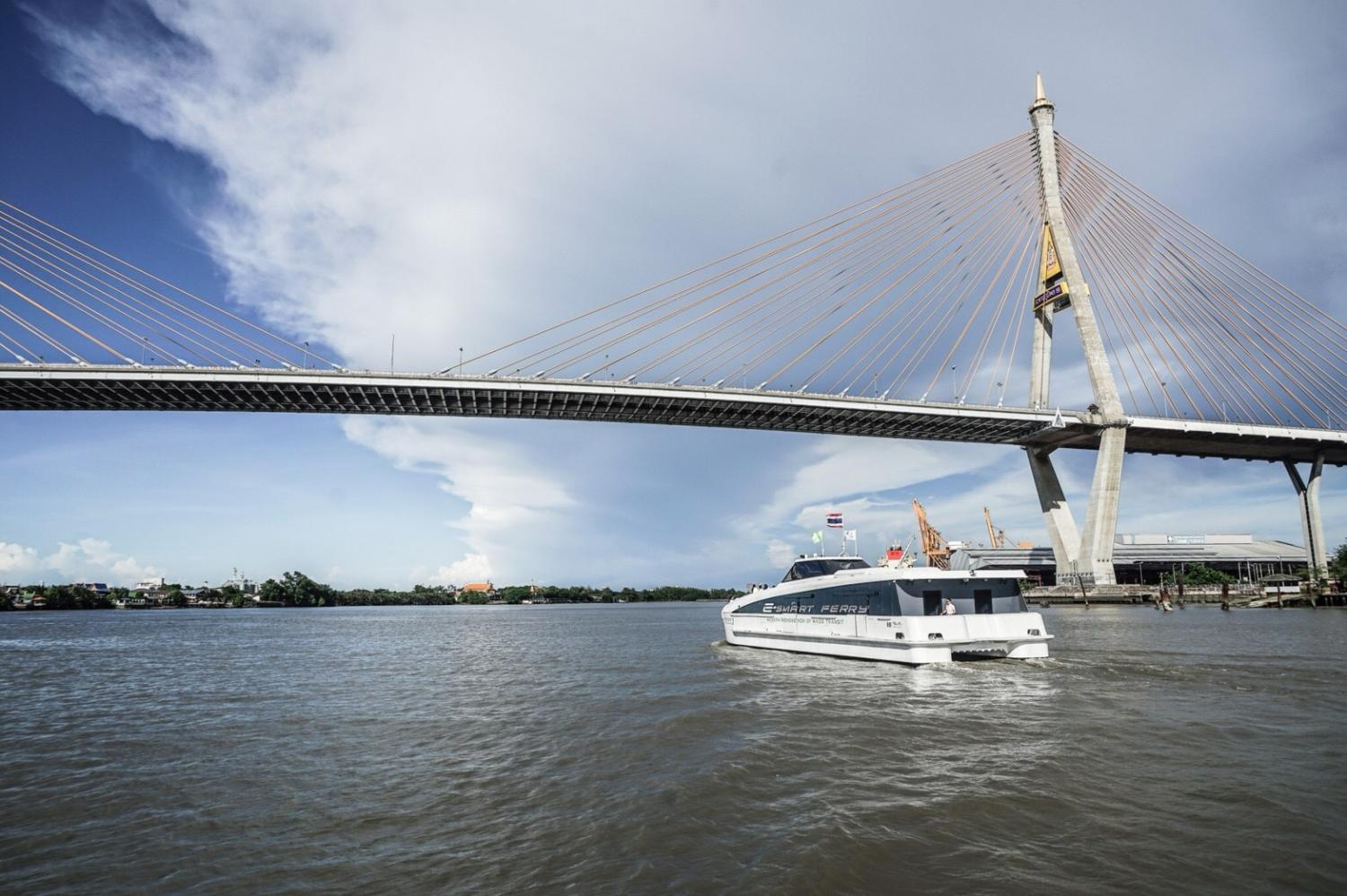 A plug-in electric boat developed by EA is being tested on the Chao Phraya River this year.