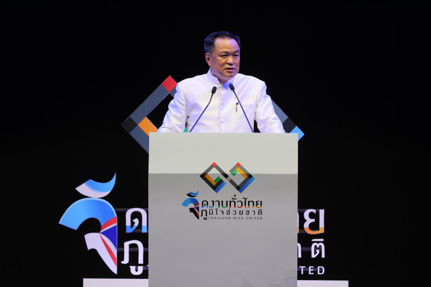Deputy prime minister and Public health minister Anutin Charnvirakul at Thailand Mice United event hosted by the Thailand Convention and Exhibition Bureau on Wednesday.