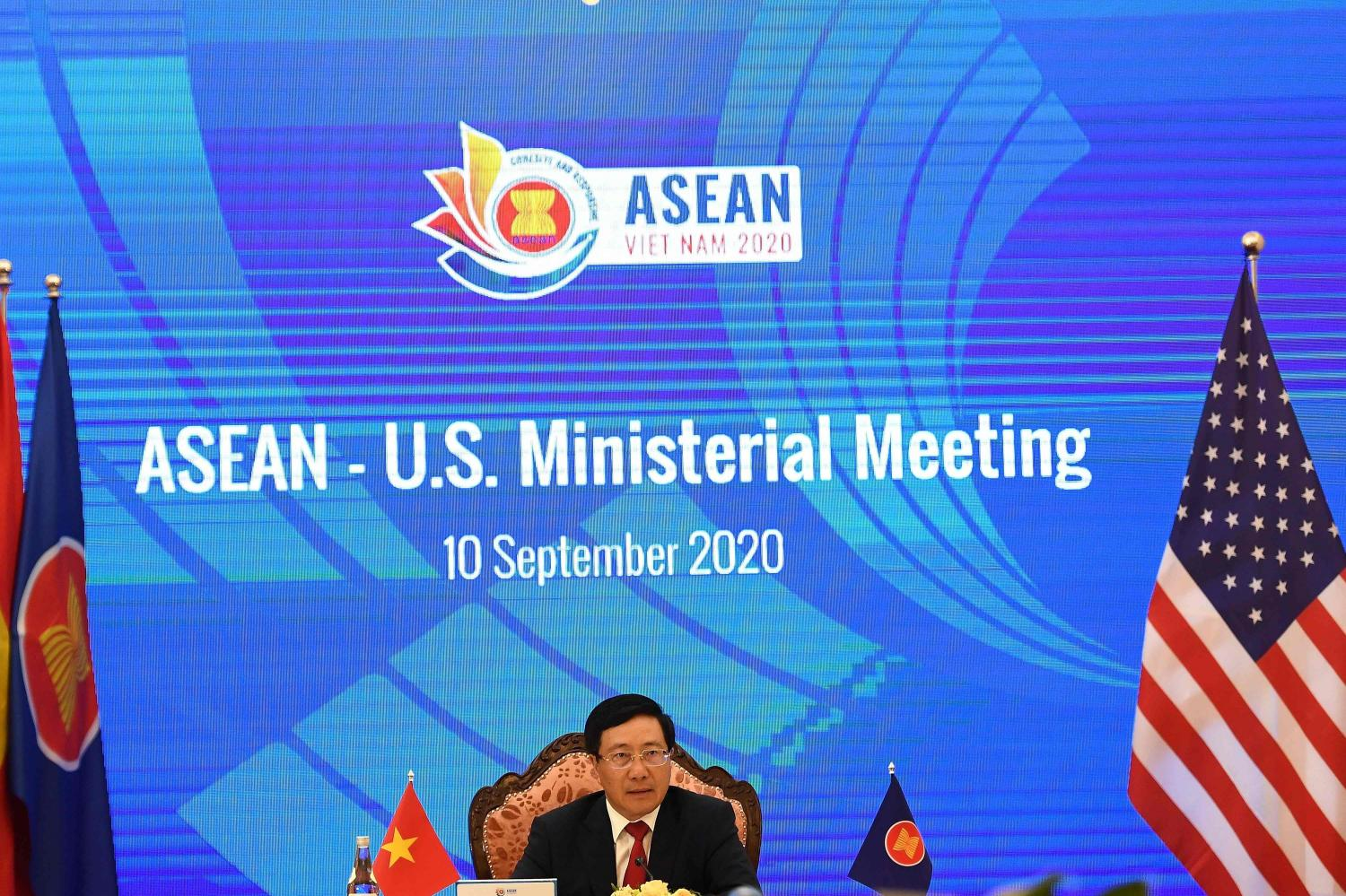 Vietnam's Foreign Minister Pham Binh Minh addresses a live video conference during the Association of Southeast Asian Nations-US Ministerial Meeting, held online due to the Covid-19, in Hanoi last Thursday. AFP