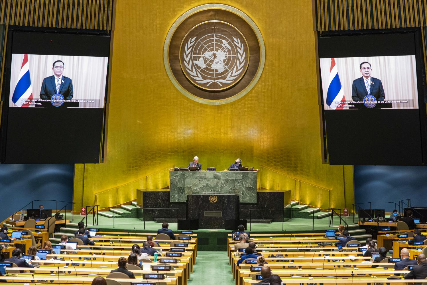 GLOBAL STAGE: Prime Minister Prayut Chan-o-cha on Saturday delivered Thailand's statement via a teleconference to the General Debate of the 75th Session of the United Nations General Assembly in New York.
