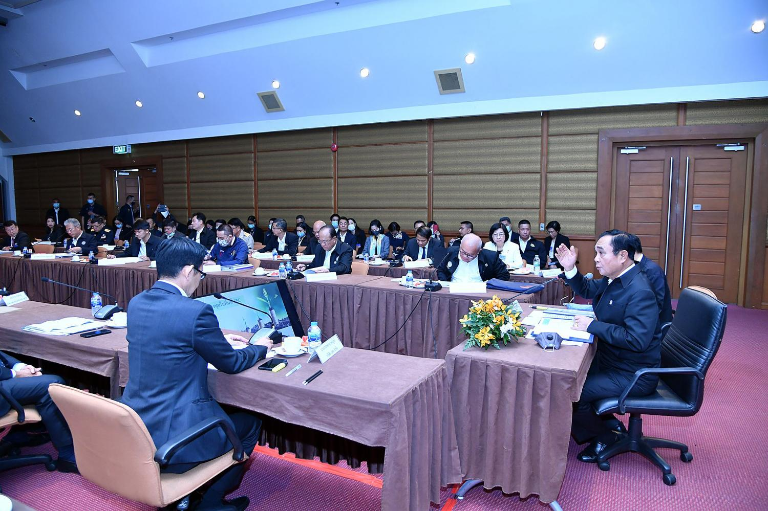 Prime Minister Prayut Chan-o-cha presides over a meeting on investment promotions by the EEC during the 'new normal' in Sri Racha in Chon Buri on Thursday. Government House photo