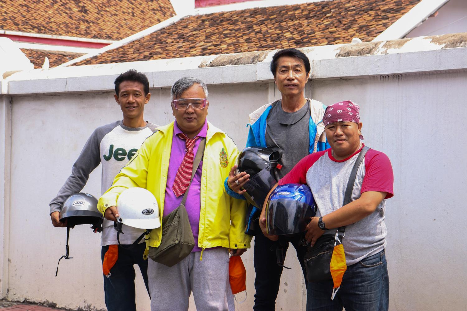Left  Locall Thailand, part of the Satarana social enterprise network, helps connect unemployed motorcycle-taxi drivers and tour guides to local restaurants in need of delivery services.