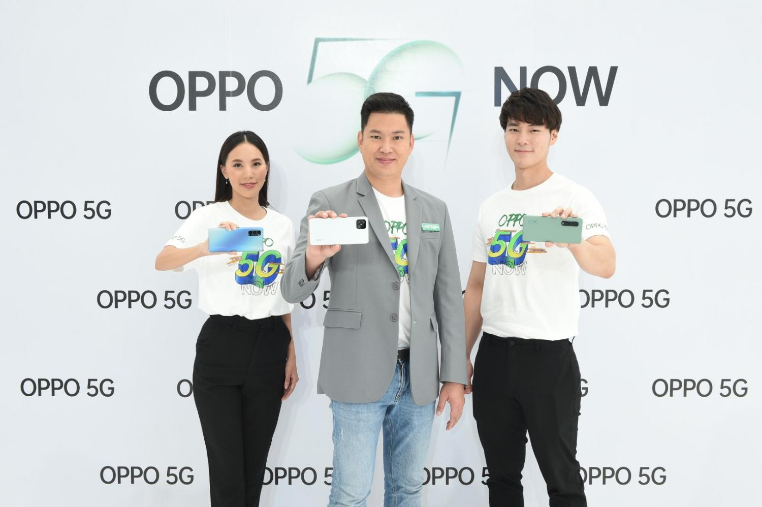 Mr Chanon, centre, promotes three new Oppo models of 5G-enabled smartphones.