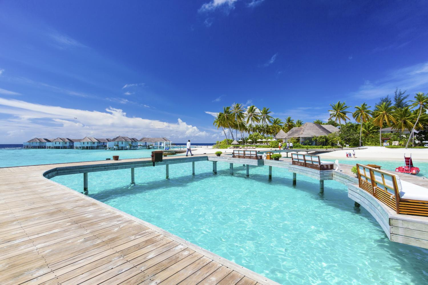 Centara Grand Island Resort & Spa Maldives. Hotels in the Maldives are located on atolls and generally separated from one another.
