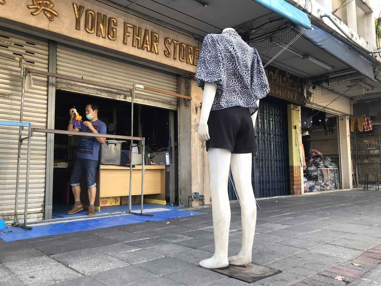 Local shops on Krung Kasem Road in Bangkok closed during the soft lockdown, following the Covid-19 outbreak.Pattanapong Hirunard