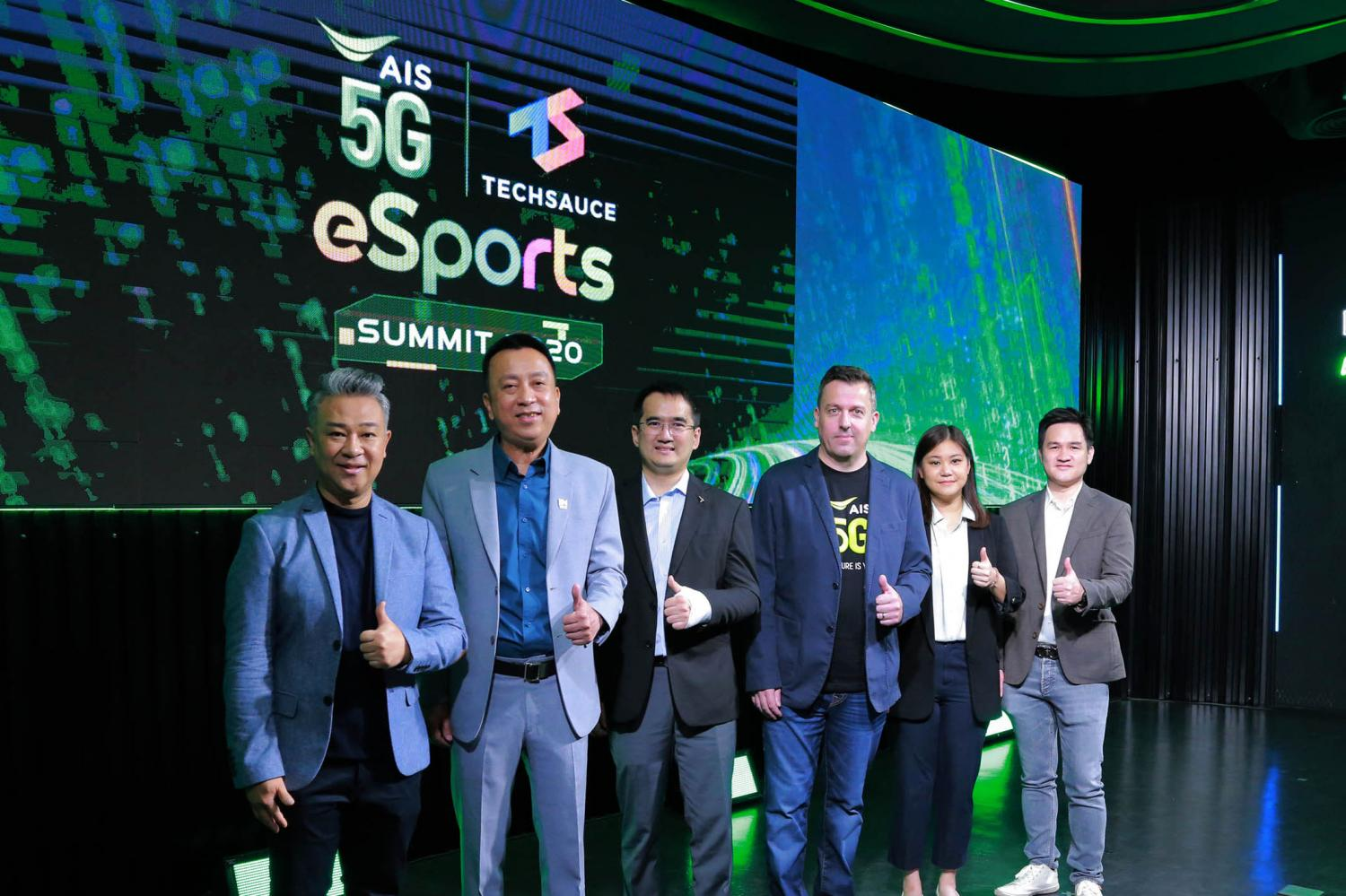Mr Johnston, centre right, and Oranuch Lerdsuwankij, chief executive of Techsauce Media, second right, at Wednesday's e-sport summit.