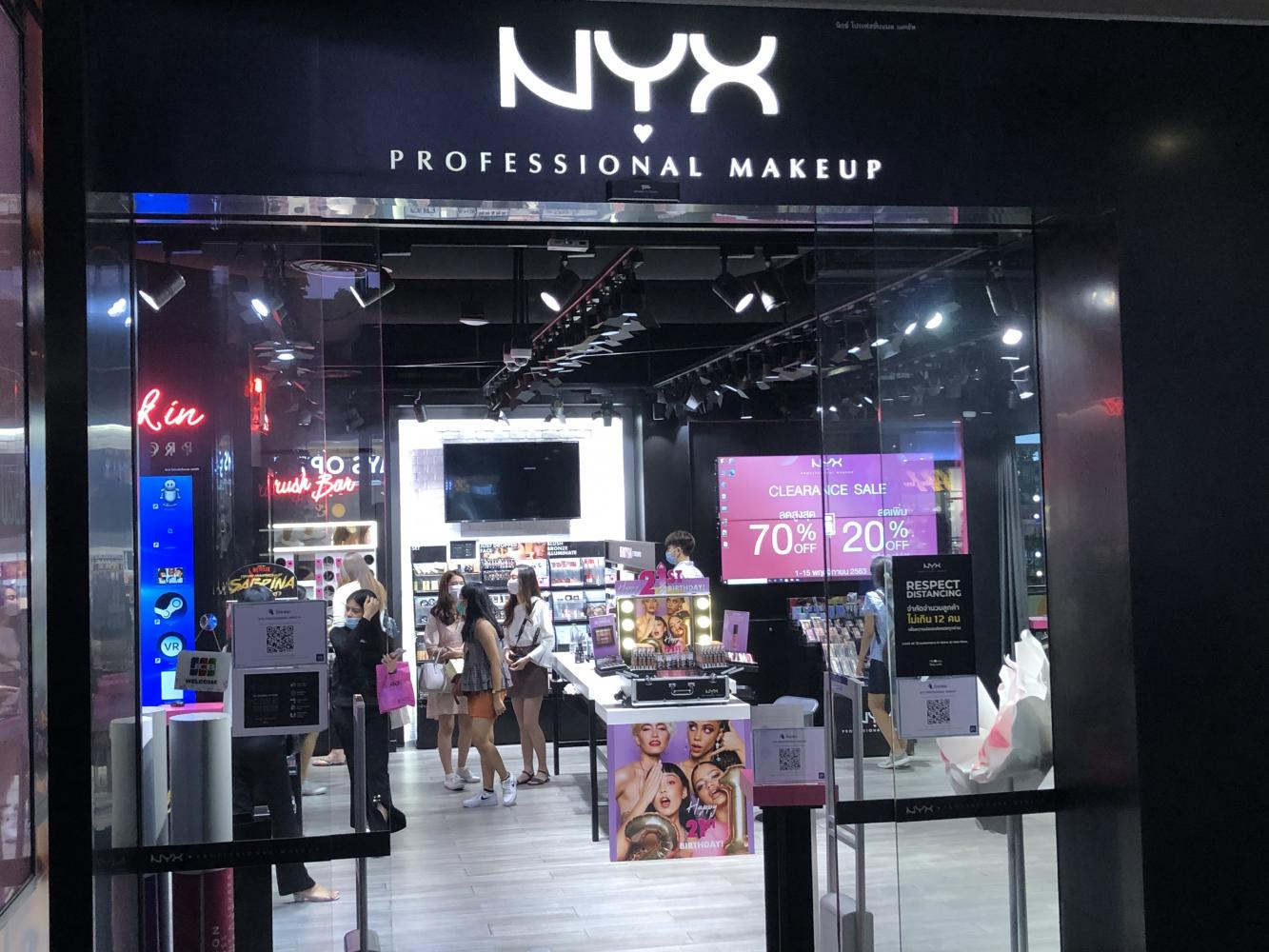 The NYX shop at Siam One Complex. All NYX make-up shops in Thailand will be closed by the end of this month. Pitsinee Jitpleecheep