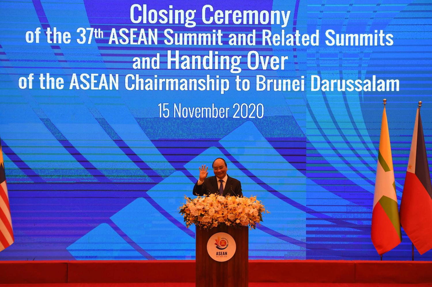 Vietnam's Prime Minister Nguyen Xuan Phuc takes part in the closing ceremony of the Association of Southeast Asian Nations (Asean) Summit being held online in Hanoi.AFP