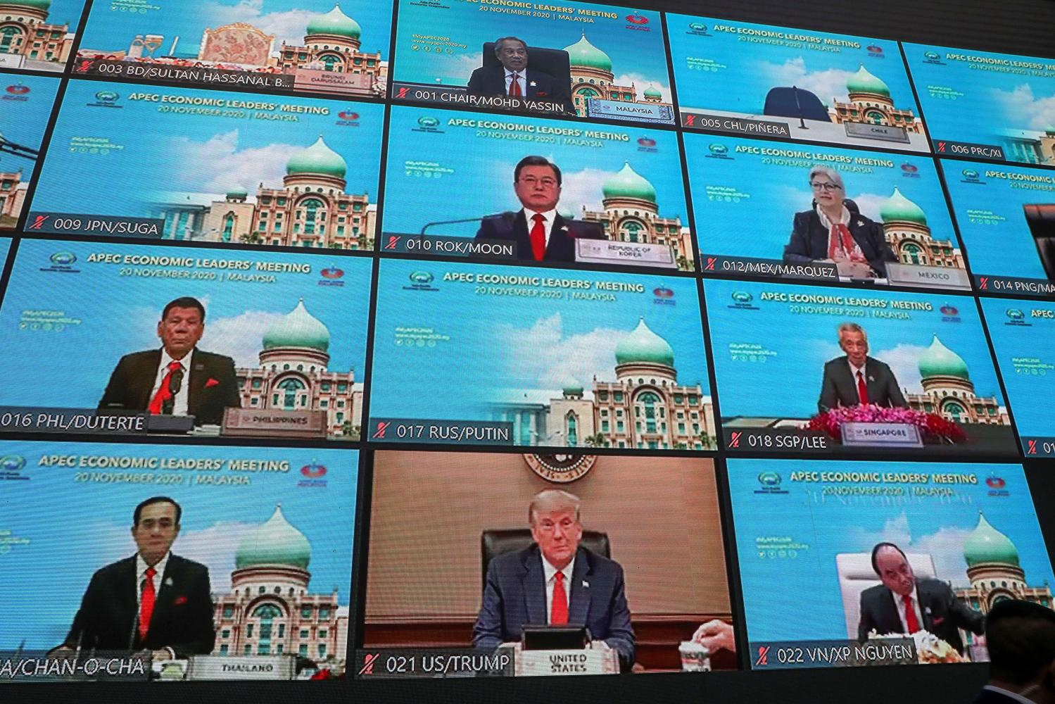 A view showing the virtual Apec Economic Leaders' Meeting 2020, in Kuala Lumpur, Malaysia, on Friday. REUTERS