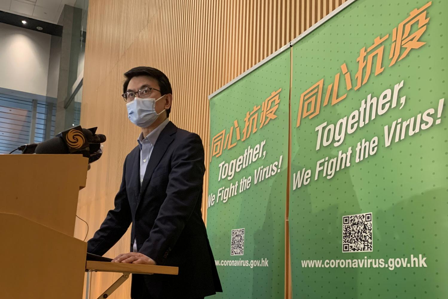 Hong Kong's Secretary for Commerce and Economic Development Edward Yau speaks to the media on a two-week postponement of the travel bubble between Hong Kong and Singapore, following a rise in Covid-19 cases in Hong Kong on Saturday.(Reuters photo)