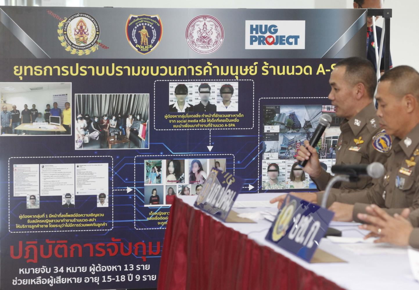 The Central Investigation Bureau uses a chart to demonstrate a raid on a spa in Nonthaburi's Muang district in which 12 people were arrested in connection with human trafficking and nine girls aged under 18 were rescued.Pattarapong Chatpattarasill