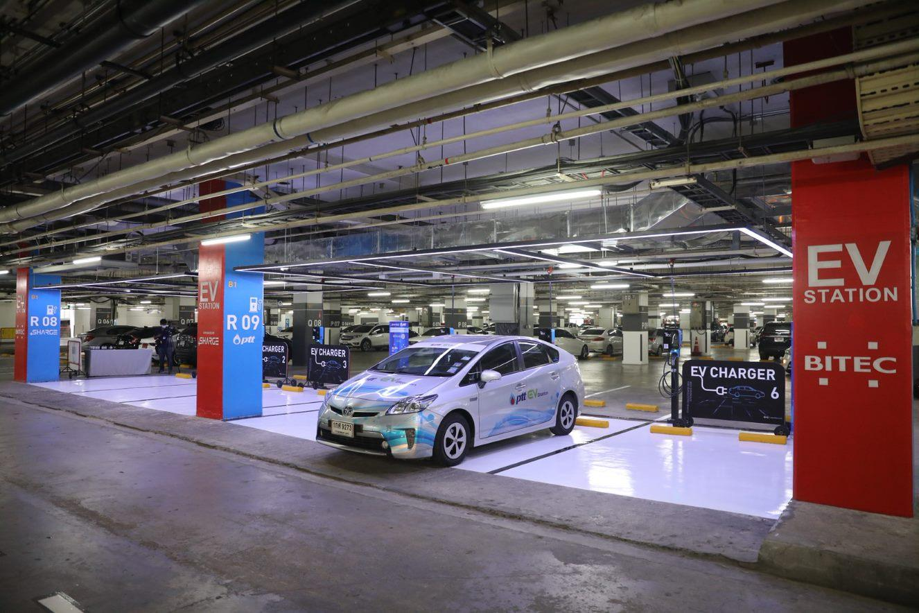 A PTT EV charging station at Bitec Bangna in Bangkok. The Excise Department is studying the restructuring of the vehicle excise tax to facilitate EV use in Thailand.