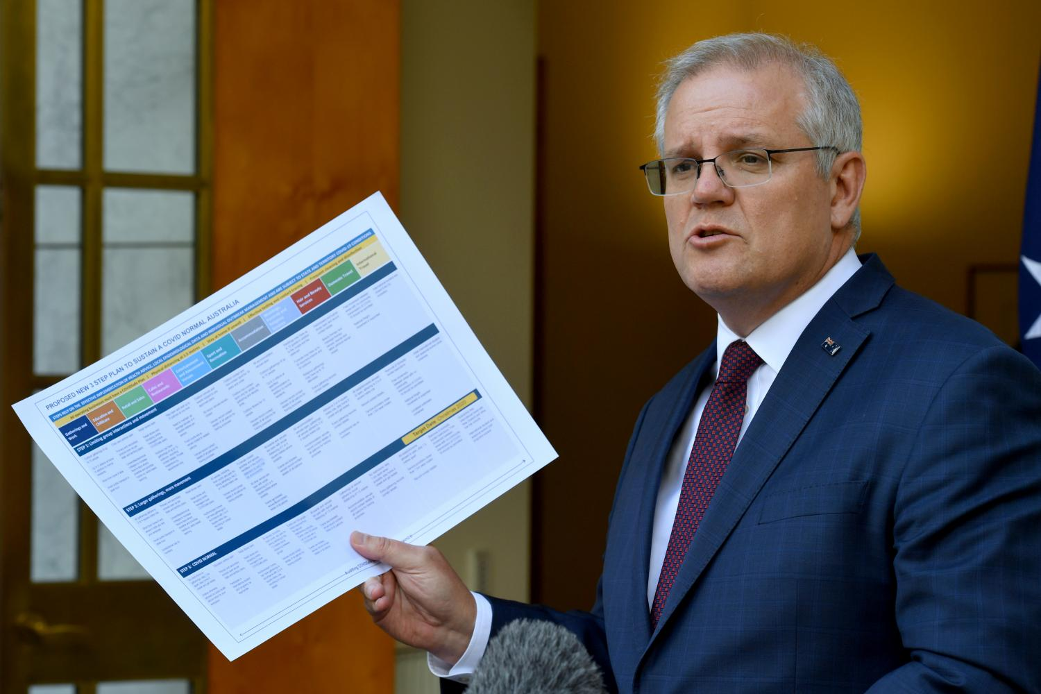 Australian Prime Minister Scott Morrison speaks following a cabinet meeting on the coronavirus. The country can take its time in authorising a vaccine because it has succeeded in limiting local spread.