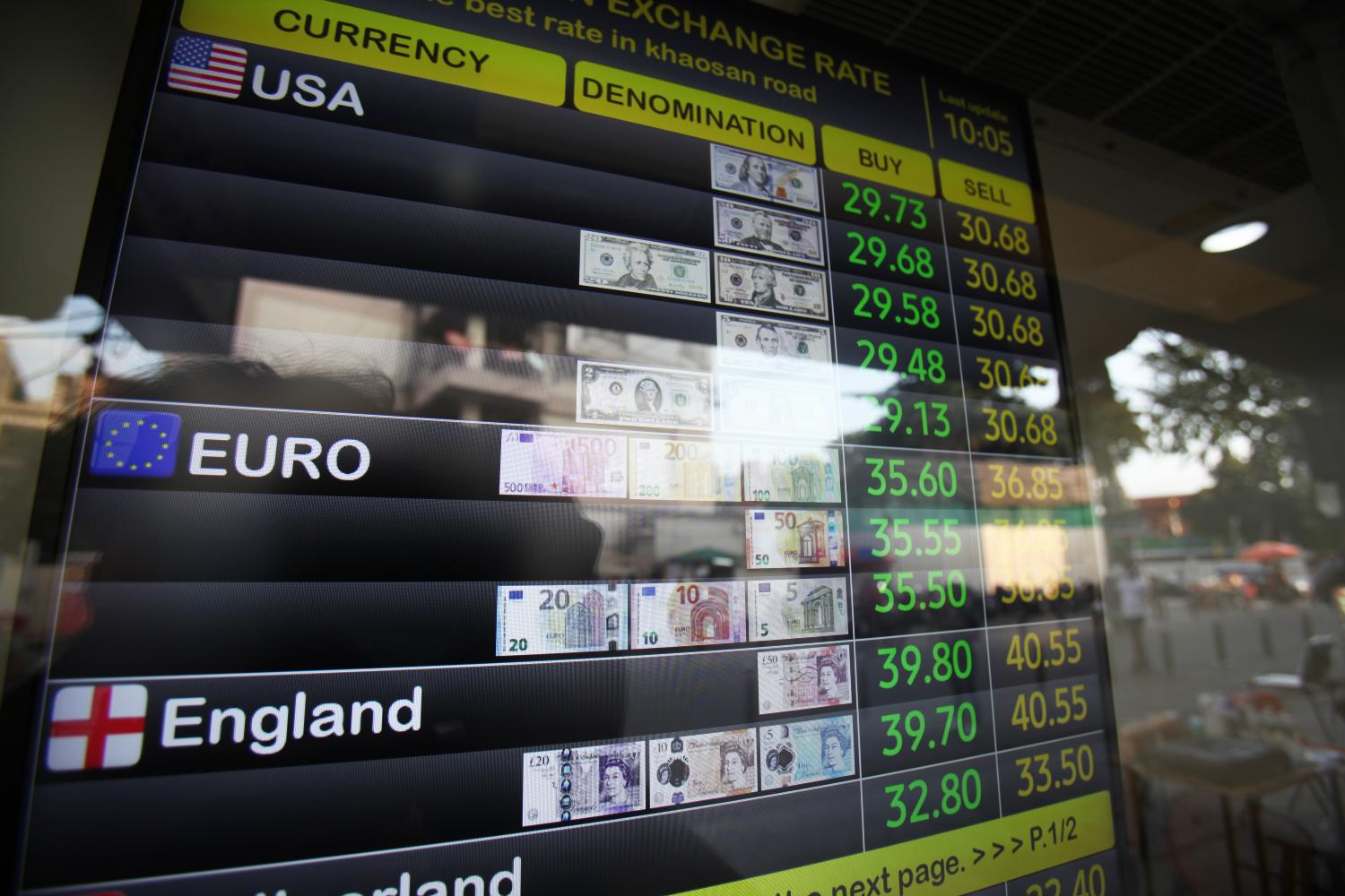 Forex rates are displayed at a currency exchange on Khaosan Road on Nov 28, 2020. Nutthawat Wichieanbut