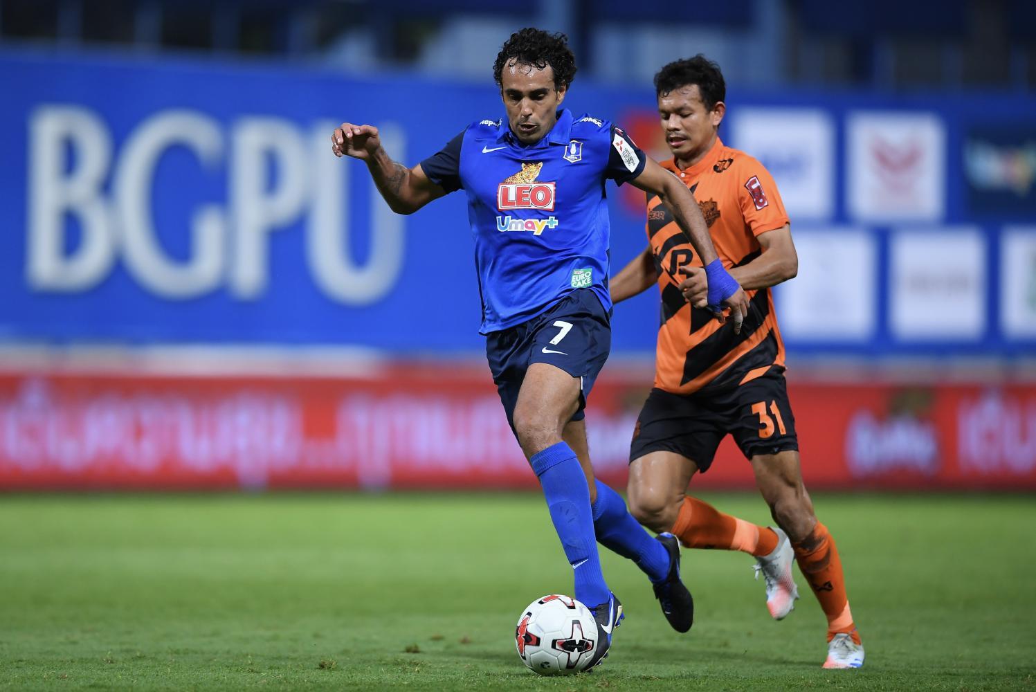 BG Pathum United striker Diogo Luis Santo (left) in action during a recent Thai League 1 match.