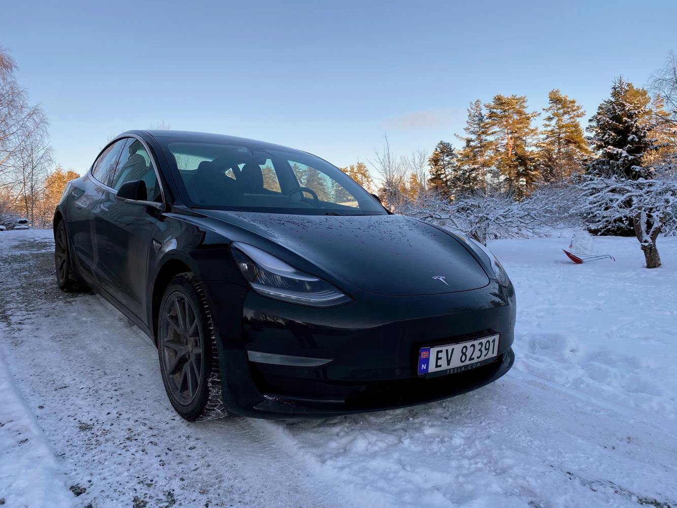A Tesla car is parked on a driveway in Nesoddtangen, Norway on Monday. (Reuters photo)