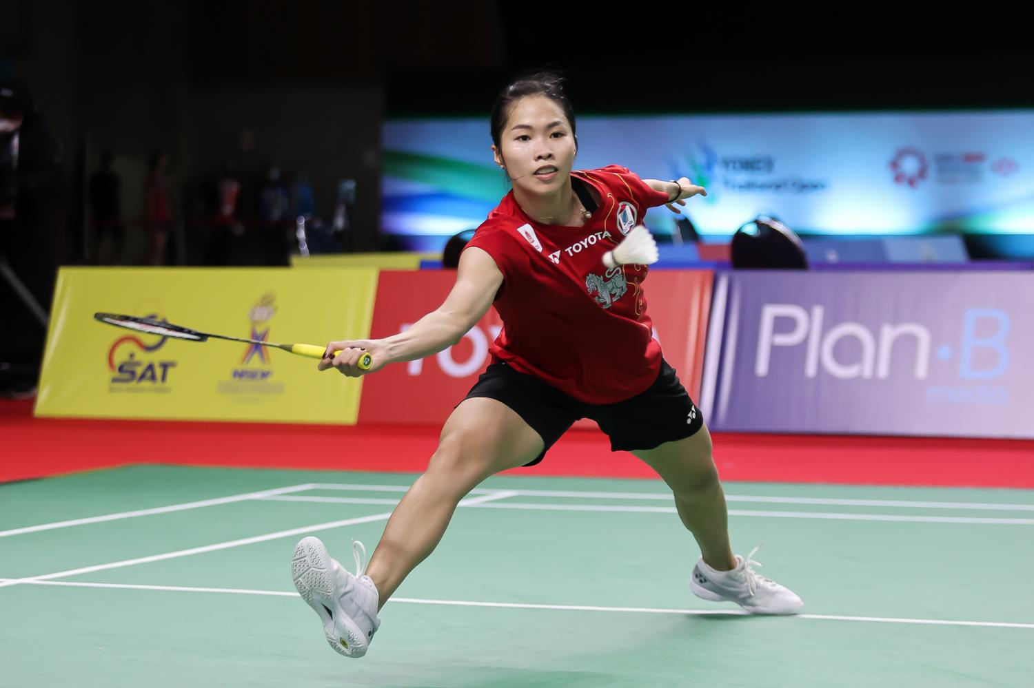Ratchanok Intanon plays a shot during her first round match against Yeo Jia Min.