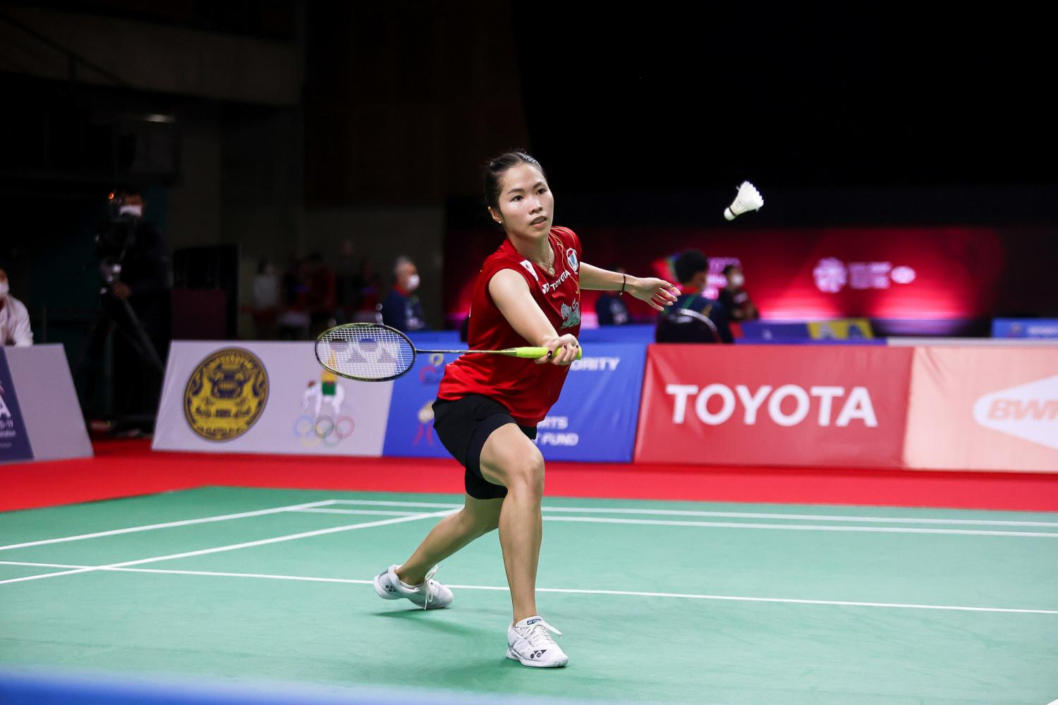 Fourth seed Ratchanok Intanon plays a shot during her second round match against Sung Ji-Hyun at Impact Arena.