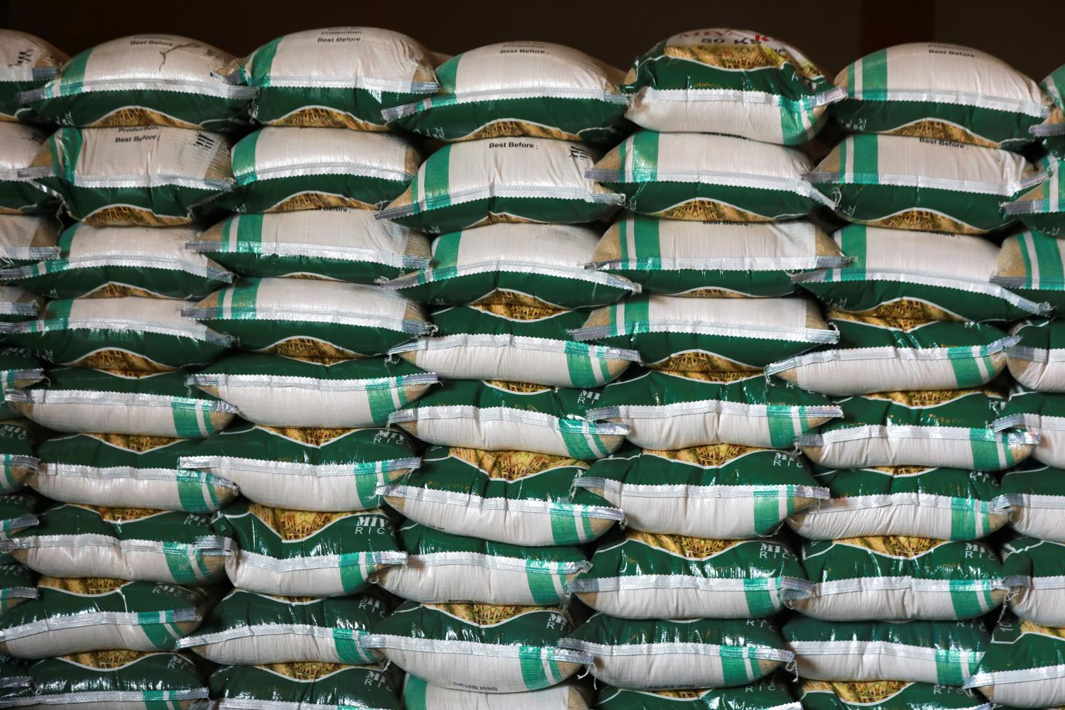 Bags of processed rice are seen arranged inside a warehouse in Benue, Nigeria. (Reuters photo)
