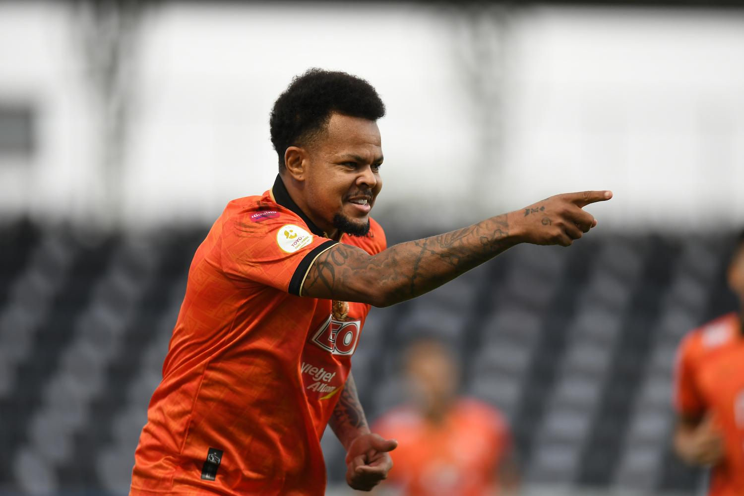 Chiang Rai's Bill Rosimar reacts after scoring a goal against Rayong on Sunday night.