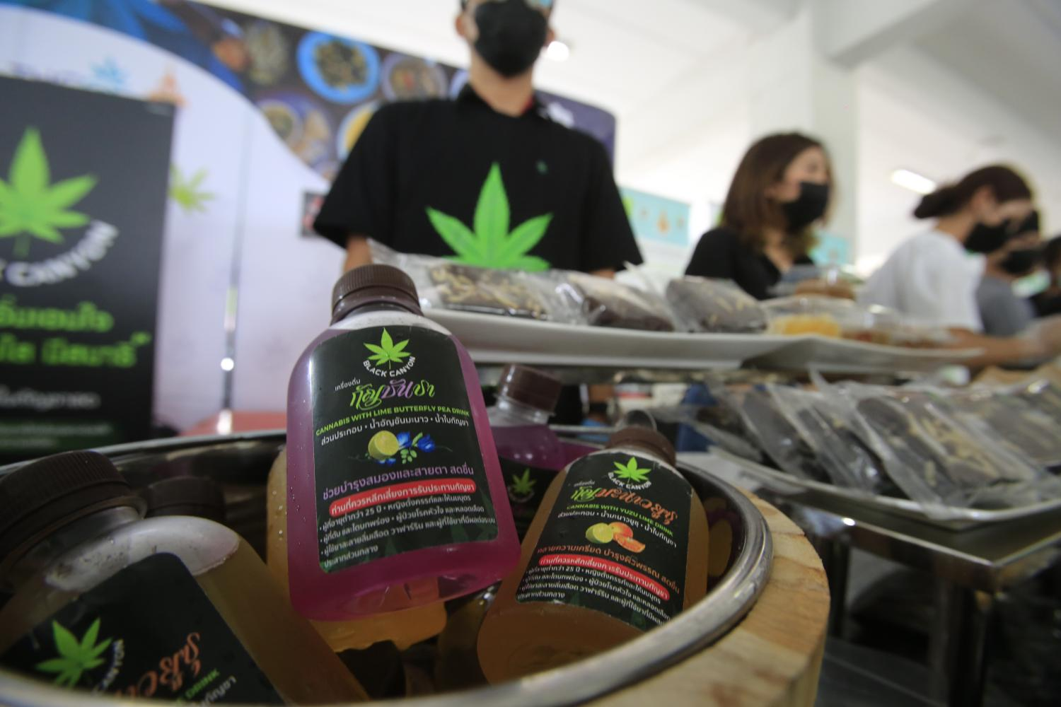 Cannabis-infused drinks are among the products being showcased at the official opening of the Ministry of Public Health's Institute of Medical Cannabis. Pornprom Satrabhaya