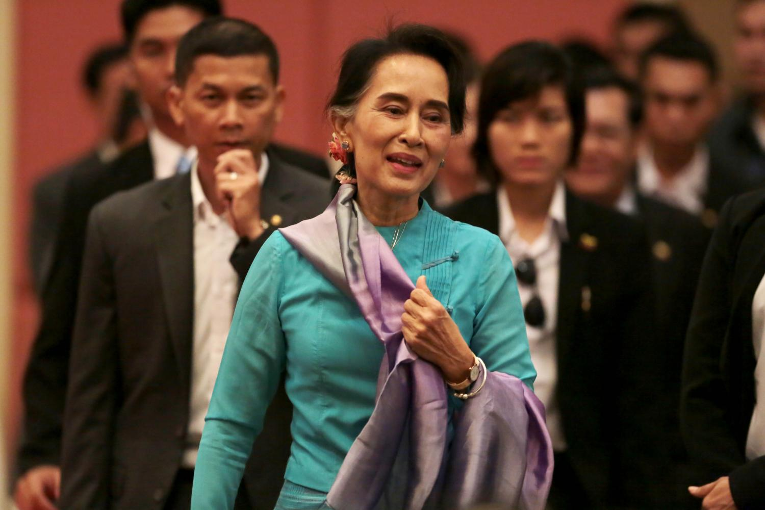 NLD leader Aung San Suu Kyi has been detained since Feb 1 but her whereabouts are still unknown.(Photo by Chanat Katanyu)