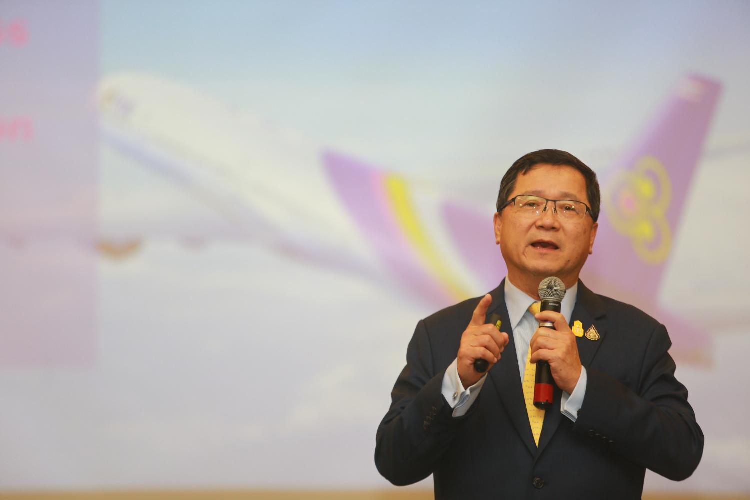 Chansin Treenuchagron, THAI's acting president, at a press conference on Tuesday.